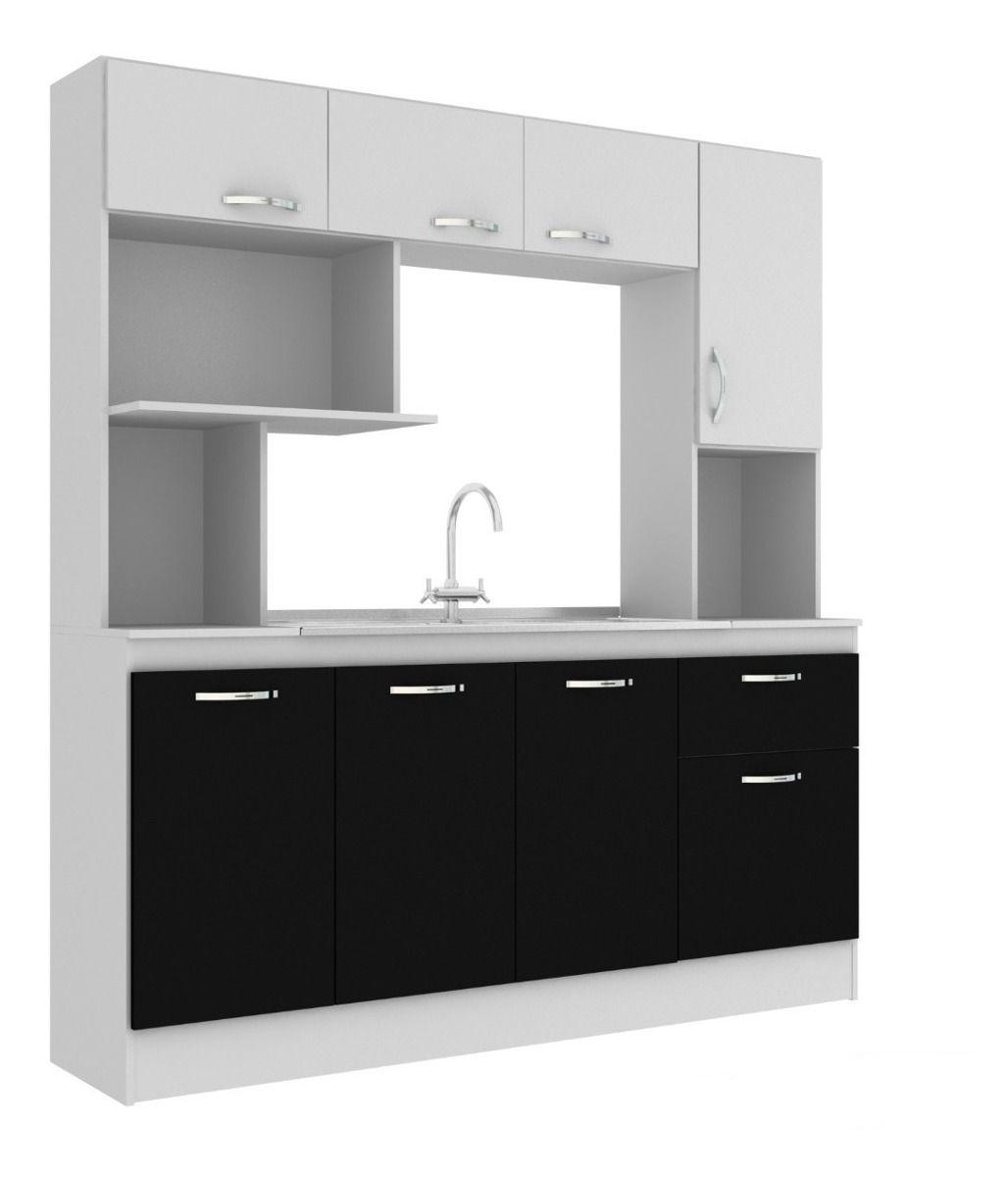 Mueble Kit Cocina Compacta Napoles + Pileta Acero Inoxidabl